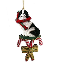 Japanese Chin Black & White Candy Cane Ornament