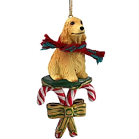 Cocker Spaniel English Blonde Candy Cane Ornament