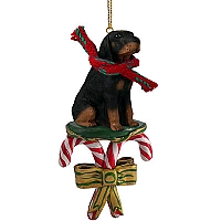 Coonhound Black & Tan Candy Cane Ornament