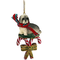 Lhasa Apso Gray w/Sport Cut Candy Cane Ornament