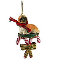 Lhasa Apso Brown w/Sport Cut Candy Cane Ornament