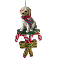 Labradoodle Cream Candy Cane Ornament