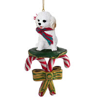 Cockapoo White Candy Cane Ornament