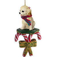 Cockapoo Blond Candy Cane Ornament