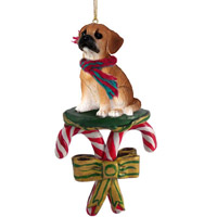 Puggle Candy Cane Ornament