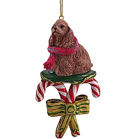 Cocker Spaniel Brown Candy Cane Ornament