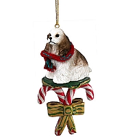 Cocker Spaniel Brown & White Candy Cane Ornament