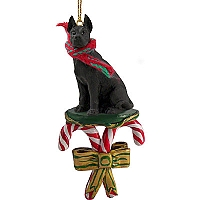 Great Dane Black Candy Cane Ornament