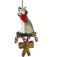 Husky Gray & White w/Brown Eyes Candy Cane Ornament
