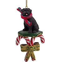 Pug Black Candy Cane Ornament
