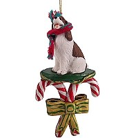 Springer Spaniel Liver & White Candy Cane Ornament