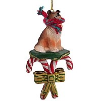 Collie Sable Candy Cane Ornament