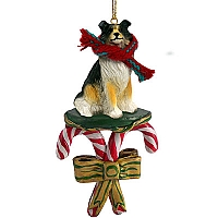 Collie Tricolor Candy Cane Ornament