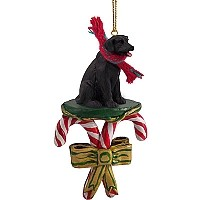 Labrador Retriever Black Candy Cane Ornament
