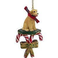 Labrador Retriever Yellow Candy Cane Ornament