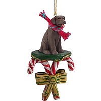 Labrador Retriever Chocolate Candy Cane Ornament