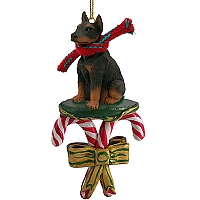 Doberman Pinscher Red w/Cropped Ears Candy Cane Ornament