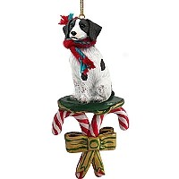Brittany Liver & White Spaniel Candy Cane Ornament