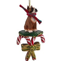 Boxer Candy Cane Ornament