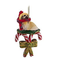 Pekingese Candy Cane Ornament