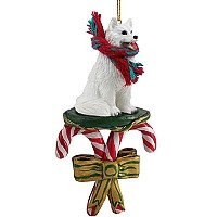 Samoyed Candy Cane Ornament