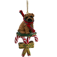 Shar Pei Brown Candy Cane Ornament