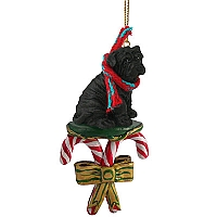 Shar Pei Black Candy Cane Ornament