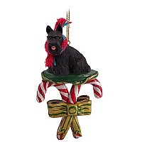Scottish Terrier Candy Cane Ornament