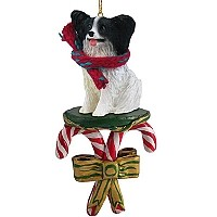 Papillon Black & White Candy Cane Ornament