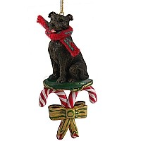 Staffordshire Bull Terrier Brindle Candy Cane Ornament