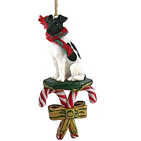 Fox Terrier Black & White Candy Cane Ornament