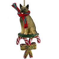 Norwegian Elkhound Candy Cane Ornament
