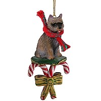 Cairn Terrier Brindle Candy Cane Ornament