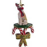 Greyhound Tan & White Candy Cane Ornament