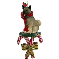 Akita Gray Candy Cane Ornament