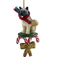 Akita Fawn Candy Cane Ornament