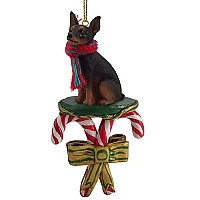 Miniature Pinscher Tan & Black Candy Cane Ornament