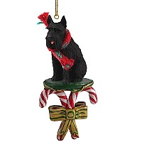 Schnauzer Giant Black Candy Cane Ornament