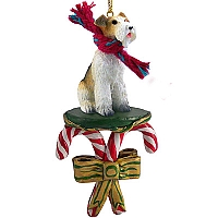 Wire Fox Terrier Red Candy Cane Ornament
