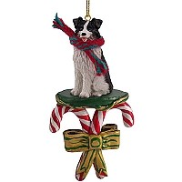 Border Collie Candy Cane Ornament