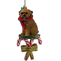 Norfolk Terrier Candy Cane Ornament