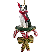 Pit Bull Terrier Brindle Candy Cane Ornament