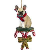 French Bulldog Fawn Candy Cane Ornament