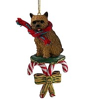 Norwich Terrier Candy Cane Ornament