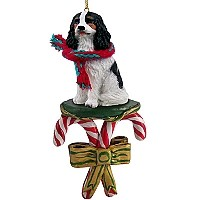 Cavalier King Charles Spaniel Black & White Candy Cane Ornament