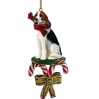 American Fox Hound Candy Cane Ornament