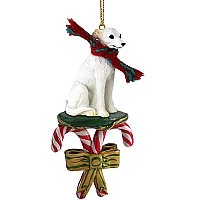 Whippet White Candy Cane Ornament