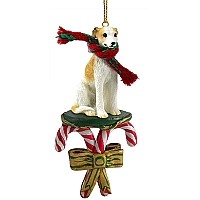 Whippet Tan & White Candy Cane Ornament