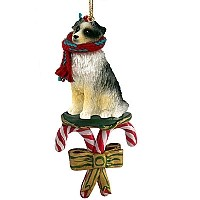 Australian Shepherd Blue Candy Cane Ornament