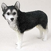 Husky Black & White w/Brown Eyes Standard Figurine